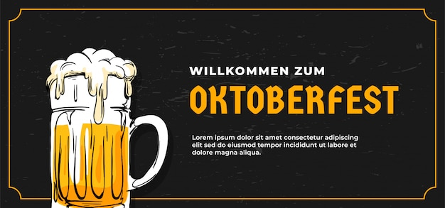 Willkommen zum oktoberfest plakat banner vorlage