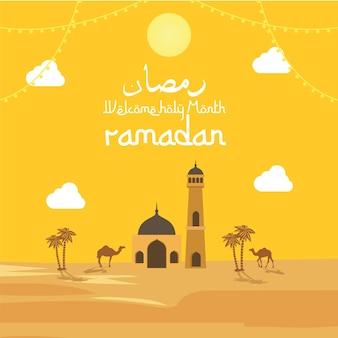 Willkommen zur feier des heiligen monats ramadan hintergrund mit der moschee und dem hintergrund der wüste mit den grußworten in arabischer bedeutung, um den heiligen monat ramadan zu feiern