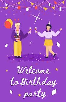 Willkommen zur geburtstagsfeier - cartoonplakat mit dem paar, das feiert
