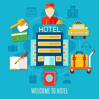 Willkommen zur hotelillustration