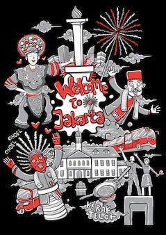 Willkommen zur jakarta-karikaturillustration