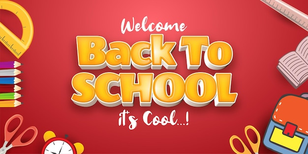 Willkommen zurück in der bearbeitbaren stileffektvorlage für 3d-texte in der schule