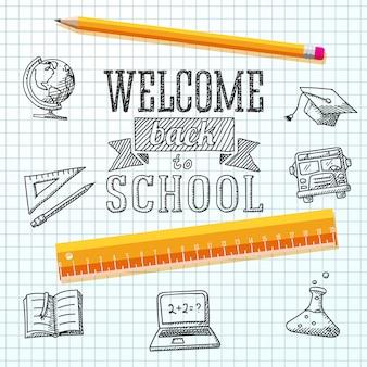 Willkommen zurück in der schulbotschaft auf papier. mit zeichnungen - globus, notizbuch, lehrbuch, abschlusskappe, bus, wissenschaftsbirne, bleistift, lineal.