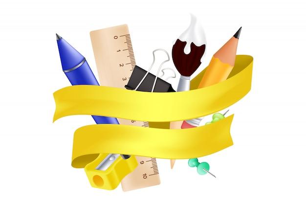 Willkommen zurück in der schule - gegenstände, die mit bleistift, lineal, stift, anspitzer, stecknadel, büroklammer und pinsel besetzt sind.