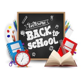 Willkommen zurück in der schule. hintergrund, plakat und vorlage