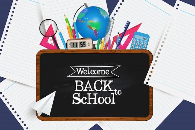 Willkommen zurück in der schule. holen sie sich ihre vorräte.