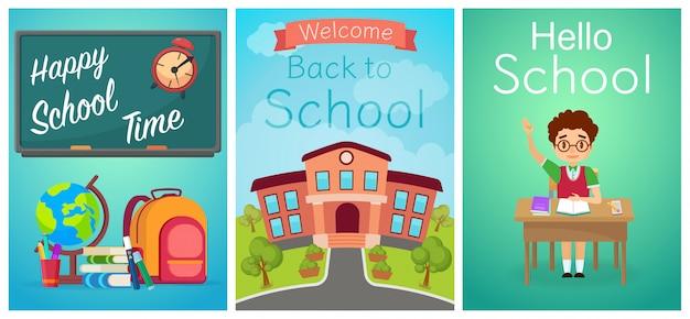 Willkommen zurück in der schule. jungenschüler auf dem schreibtisch, der studienausrüstung und dem schulgebäude. cartoon-vektor-illustration.