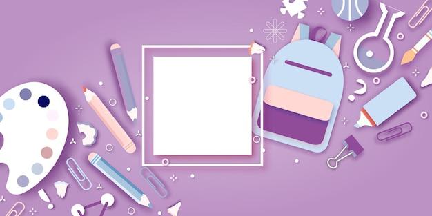 Willkommen zurück in der schule. konzepte der bildung. kreative kinder. wissenschaft, art papierschnittstil.