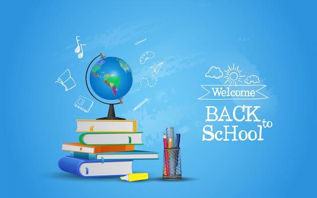 Willkommen zurück in der schule mit ausrüstung. bereit zu studieren