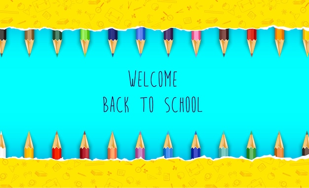 Willkommen zurück in der schule mit buntstiften