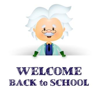 Willkommen zurück in der schule. professor zeichentrickfigur