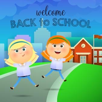 Willkommen zurück in der schule schriftzug, fröhliche schulmädchen