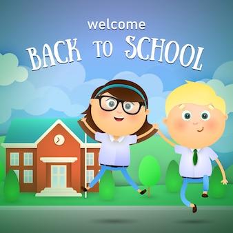 Willkommen zurück in der schule schriftzug, fröhlichen jungen und mädchen