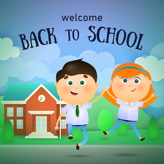 Willkommen zurück in der schule schriftzug, glückliche jungen und mädchen springen