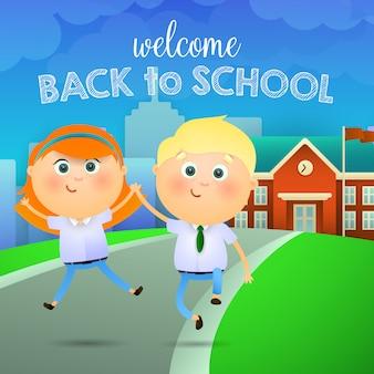 Willkommen zurück in der schule schriftzug, glückliches mädchen und jungen