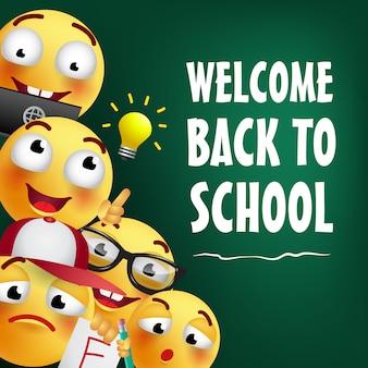 Willkommen zurück in der schule schriftzug mit glücklichen emojis