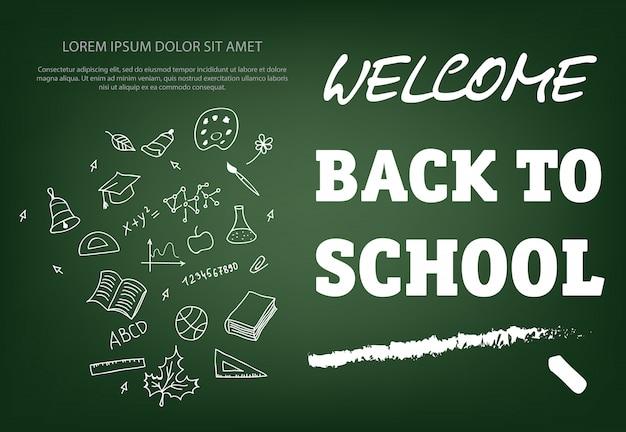 Willkommen zurück in der schule schriftzug mit kreide strich
