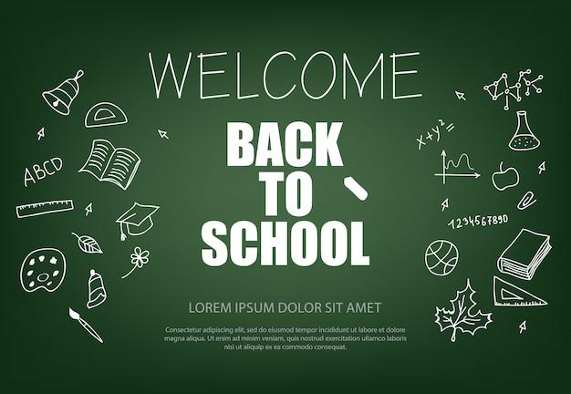 Willkommen zurück in der schule schriftzug mit kreide