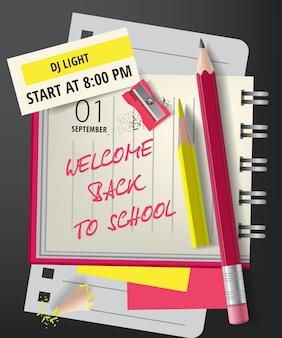 Willkommen zurück in der schule schriftzug mit spitzer und bleistifte
