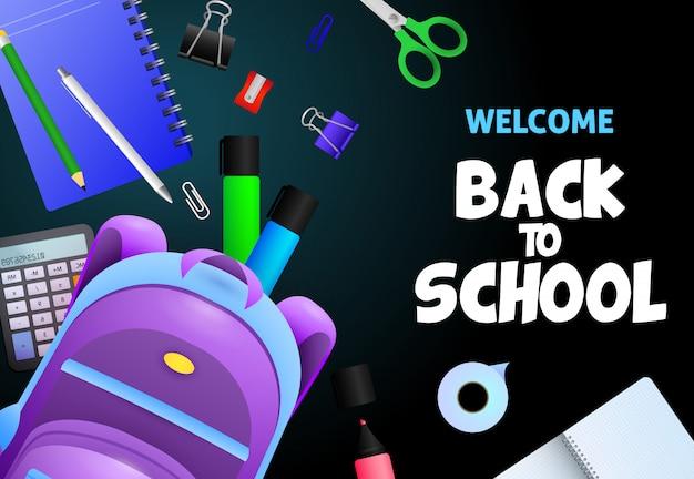 Willkommen zurück in der schule schriftzug, notebook, taschenrechner