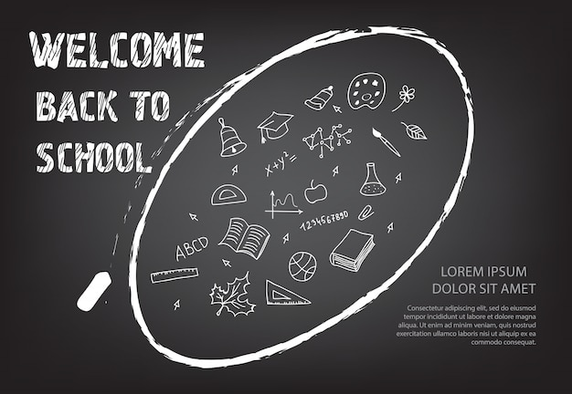 Willkommen zurück in der schule schriftzug und kritzeleien in kreide oval