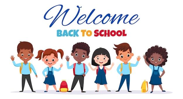 Willkommen zurück in der schule süße schulkinder mit rucksäcken winken und lächeln gerne