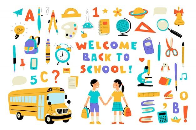 Willkommen zurück in der schule, süßes gekritzel buntes set mit schriftzug. hand gezeichnete vektorillustration, lokalisiert auf weiß.
