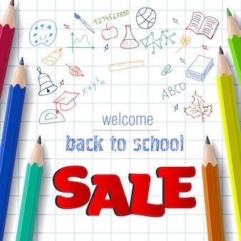 Willkommen, zurück in der schule, verkauf schriftzug mit doodle-zeichnungen