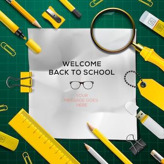 Willkommen zurück in der schule vorlage mit schulen liefert grüne und gelbe farben vektor-illustration