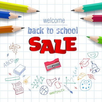 Willkommen, zurück in die schule, verkauf schriftzug auf karopapier