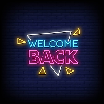 Willkommen zurück neon signs style text