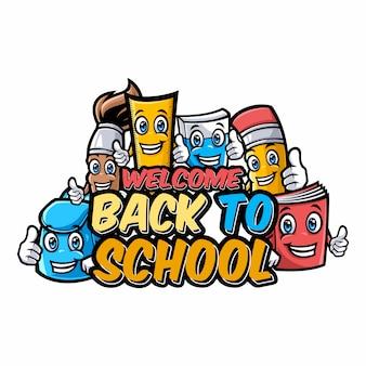 Willkommen zurück zu schulcharakteren mit lustigen bildungs-cartoonmaskottchen