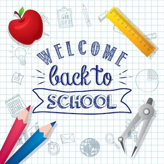 Willkommen zurück zu schule poster design-vorlage