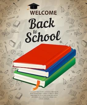 Willkommen, zurück zu schule schriftzug und bücher