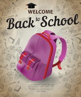 Willkommen, zurück zu schule schriftzug und rucksack