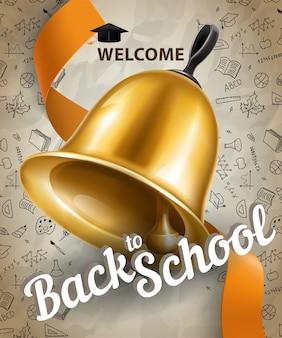 Willkommen, zurück zur schule schriftzug und große glocke