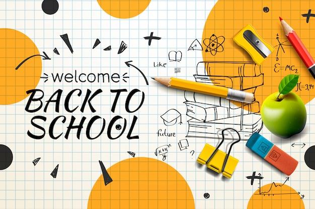Willkommen zurück zur schule web-banner, gekritzel auf kariertem papier hintergrund, illustration.