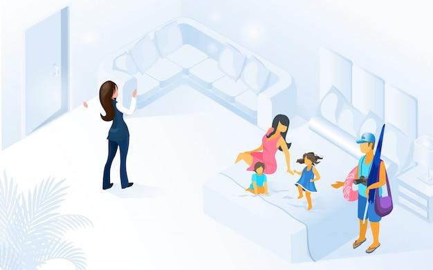 Willkommene familien-kunden-illustration des hotel-managers