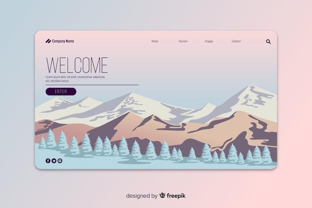 Willkommene landing page mit farbverlauf