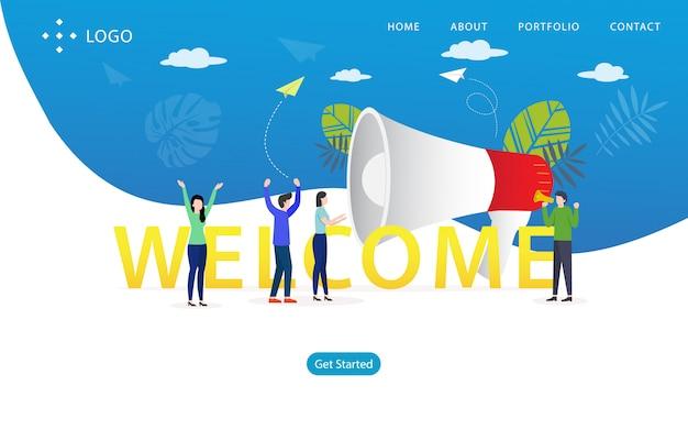 Willkommene landing page, website-schablone, einfach zu redigieren und besonders anzufertigen, vektorillustration