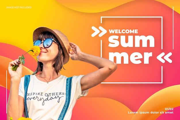 Willkommene sommerfahne