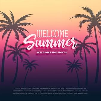 Willkommene sommerferien hintergrund