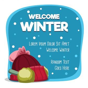 Willkommene winterkarte der karikatur mit warmer hutschablone