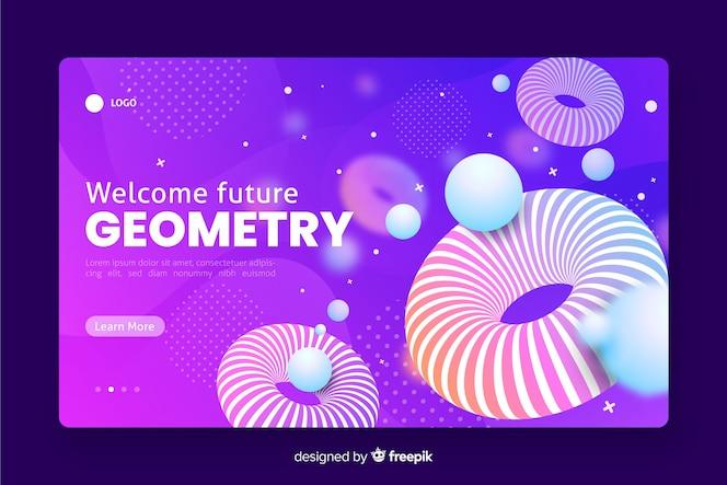 Willkommene zukünftige geometrische landingpage 3d