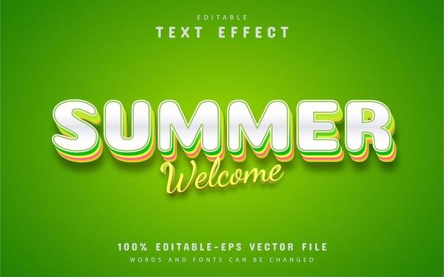Willkommener sommer, bearbeitbarer texteffekt