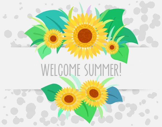 Willkommener sommer mit sonnenblumenhintergrund
