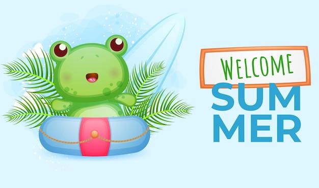 Willkommener sommerfahnenfrosch in der schwimmboje-zeichentrickfilm-figur