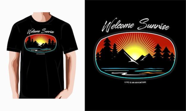 Willkommener sonnenaufgang-typografie-t-shirt-design-premium-vektor