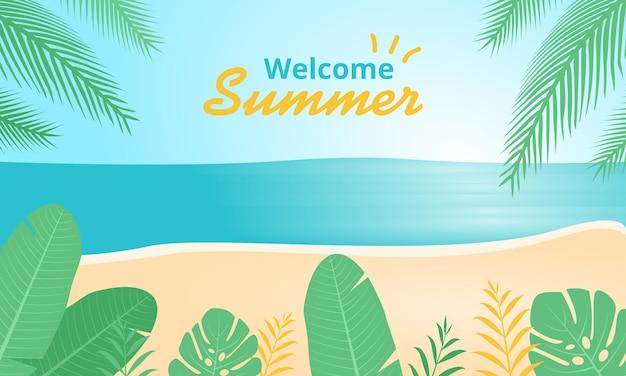 Willkommener tropischer strandillustrationshintergrund des sommers