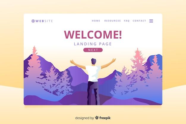 Willkommens-landingpage mit farbverlauf im querformat
